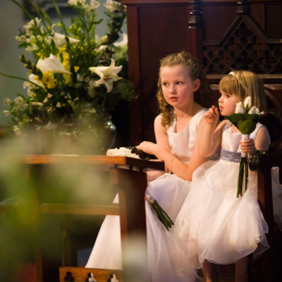 Flowergirls at a wedding at St John's, Cooks Hill, Newcastle NSW Australia