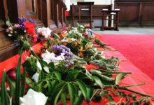 Carpet of flowers on All Saints Day at St John's Cooks Hill